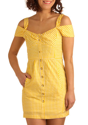 Lemonade on the Lawn Dress - Yellow, White, Checkered / Gingham, Buttons, Pockets, Casual, Sheath / Shift, Short Sleeves, Tank top (2 thick straps), Spring, Summer, Short