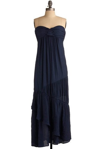 Walk This Sway Dress - Blue, Solid, Tiered, Casual, Empire, Maxi, Strapless, Spring, Summer, Long