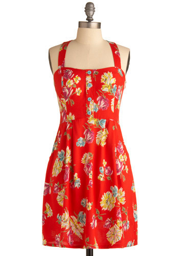 Lovely Day Dress - Red, Multi, Yellow, Green, Blue, Purple, White, Floral, Buttons, Casual, A-line, Spaghetti Straps, Tank top (2 thick straps), Spring, Summer, Mid-length