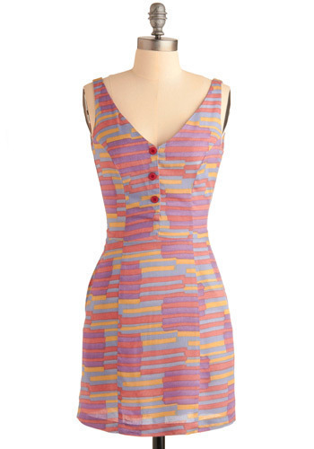 In the Past-el Dress - Multi, Red, Yellow, Blue, Purple, Pink, Stripes, Print, Bows, Buttons, Pockets, Casual, Shift, Tank top (2 thick straps), Spring, Summer, Short