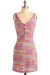 In the Past-el Dress - Multi, Red, Yellow, Blue, Purple, Pink, Stripes, Print, Bows, Buttons, Pockets, Casual, Sheath / Shift, Tank top (2 thick straps), Spring, Summer, Short