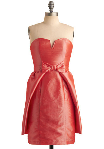 Pretty in Papaya Dress - Red, Orange, Solid, Bows, Special Occasion, Prom, Wedding, Party, Luxe, Empire, Strapless, Spring, Summer, Mid-length