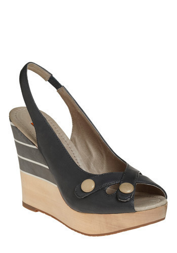 Low Tide Wedge by Miz Mooz - Cream, Black, Stripes, Studs, Nautical, Wedge