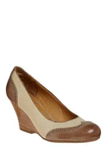 Independent Studies Wedge by Miz Mooz - Brown, Cream, Party, Work, Casual, Spring, Summer, Fall, 20s, 30s, 40s, Wedge