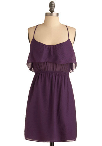 Nightshade Dress - Purple, Solid, Ruffles, Casual, A-line, Spaghetti Straps, Spring, Summer, Mid-length