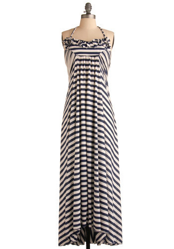 Island Escape Dress - Blue, White, Stripes, Braided, Casual, Maxi, Halter, Spring, Summer, Long