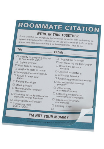 Roommate Citation Notepad by Knock Knock - Blue, Dorm Decor