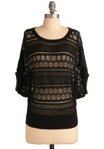 How I Caught You Top - Black, Solid, Crochet, Knitted, Casual, 3/4 Sleeve, Short