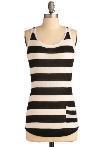 The Hot Hangout Tank - Black, White, Stripes, Knitted, Pockets, Casual, Tank top (2 thick straps), Spring, Summer, Mid-length, Scoop
