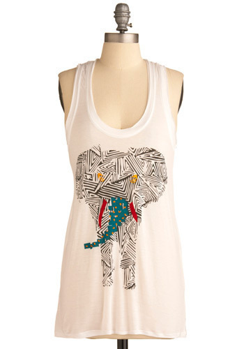 Trunk-adelic Tank - White, Red, Yellow, Blue, Black, Print with Animals, Casual, Tank top (2 thick straps), Spring, Summer, Mid-length