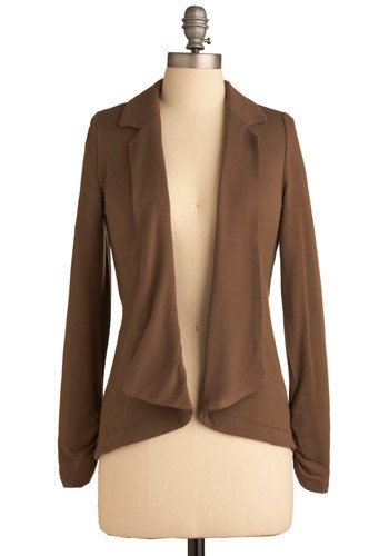 Career Change Top - Brown, Solid, Work, Urban, Long Sleeve, Fall, Mid-length