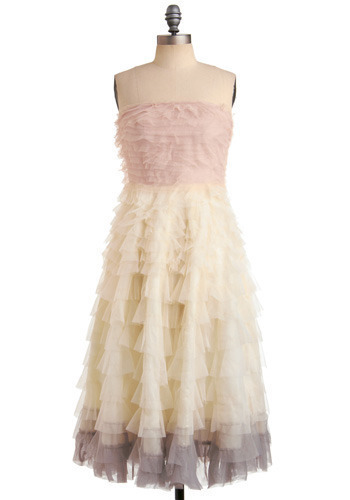 Swan Cloud Dress in Pink by Traffic People - Cream, Pink, Grey, Ruffles, Tiered, Formal, Prom, Wedding, Party, A-line, Strapless, Spring, Summer, Long