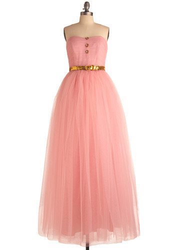 Betsey Johnson Sugary Confection Dress by Betsey Johnson - Pink, Gold, Solid, Buttons, Formal, Prom, Wedding, Party, Luxe, Ballerina / Tutu, Empire, Strapless, Long