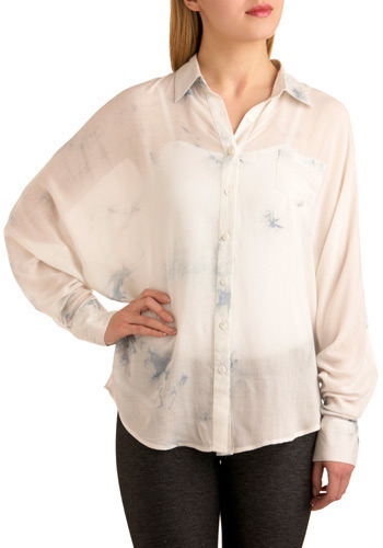 Not a Cloud in the Sky Top - White, Blue, Print, Buttons, Work, Casual, Long Sleeve, Spring, Summer, Mid-length