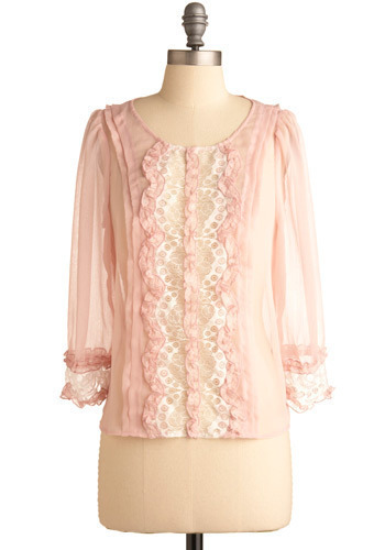 Purely Pleasant Top - Pink, White, Solid, Lace, Pleats, Ruffles, Party, Casual, 3/4 Sleeve, Spring, Summer, Short