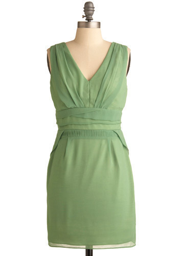 Wild Mint Dress - Green, Solid, Pleats, Formal, Wedding, Party, Sheath / Shift, Sleeveless, Short