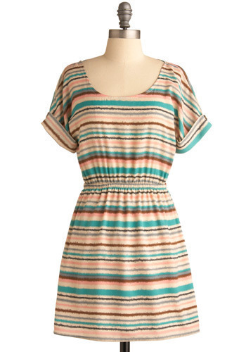 Snow Cone Dress - Multi, Blue, Purple, Brown, Tan / Cream, Grey, Stripes, Casual, A-line, Short Sleeves, Spring, Summer, Short