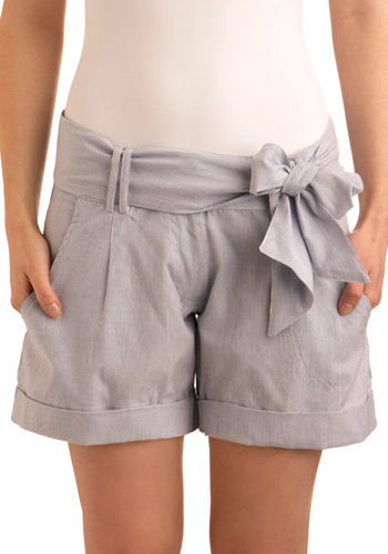 Yacht to Trot Shorts by Bibico - Blue, White, Stripes, Bows, Pleats, Pockets, Casual, Nautical, Spring, Summer, Mid-length, International Designer