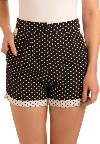 New Domino Set Shorts by Mink Pink - Black, White, Polka Dots, Casual, Mid-length