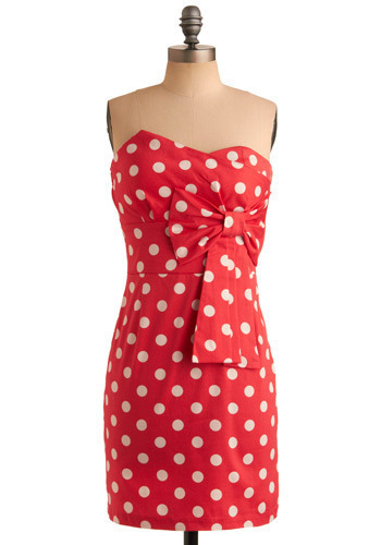 That's My Song Dress - Pink, White, Polka Dots, Bows, Pleats, Wedding, Party, Casual, Vintage Inspired, Shift, Strapless, Mid-length
