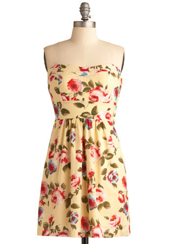 Blossoms and Buttercream Dress - Yellow, Multi, Red, Green, Blue, Floral, Casual, A-line, Empire, Strapless, Spring, Summer, Party, Mid-length