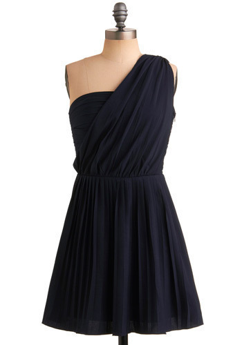 I'll Be True Dress - Blue, Solid, Formal, Prom, Wedding, Party, A-line, One Shoulder, Spring, Summer, Short