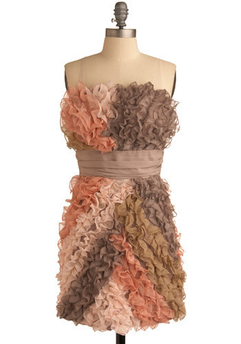 Sweet as Spumoni Dress - Pink, Multi, Brown, Tan / Cream, Pleats, Ruffles, Special Occasion, Prom, Wedding, Party, Statement, Shift, Strapless, Mid-length
