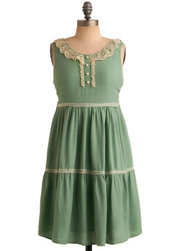 Naturally Sweet Dress by Darling - Green, White, Solid, Bows, Buttons, Cutout, Lace, Ruffles, Tiered, Trim, Party, Casual, A-line, Empire, Sleeveless, Spring, Summer, Mid-length