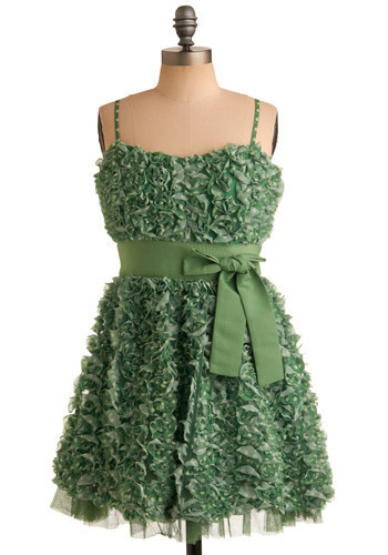 Gardens of Versailles Dress by Darling - Green, White, Polka Dots, Bows, Ruffles, Special Occasion, Prom, Wedding, Party, Casual, A-line, Empire, Strapless, Spaghetti Straps, Spring, Summer, Mid-length