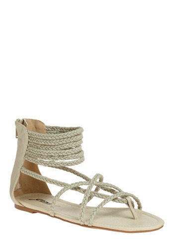 Ropes Course Sandal - Grey, Solid, Braided, Casual, Spring, Summer