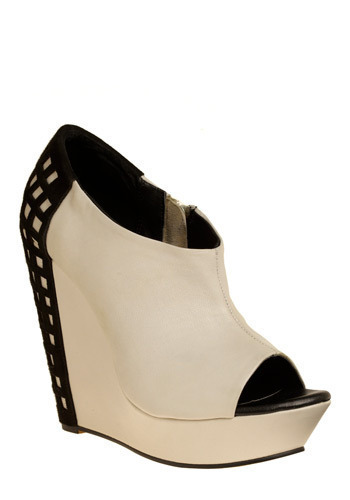Can't Be Boxed In Wedge - Black, White, Casual, Statement, Wedge