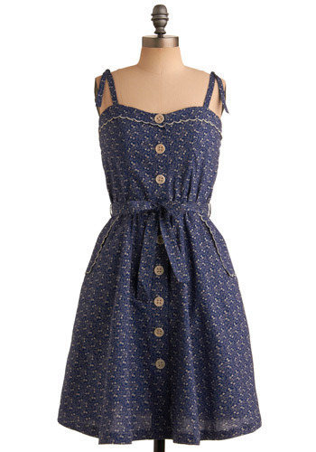 Little Prairie Dress - Blue, White, Floral, Buttons, Pockets, Scallops, Trim, Casual, A-line, Spaghetti Straps, Spring, Summer