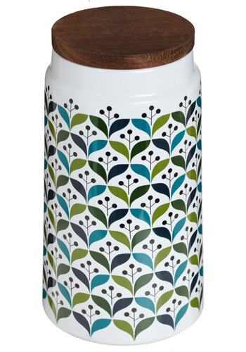 The Kind Kitchen Canister in Tall - Print, Vintage Inspired, Green, White, Multi, Mid-Century
