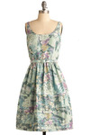 Paradise Pond Dress - Multi, Yellow, Purple, Floral, Pleats, Casual, Empire, Sleeveless, Tank top (2 thick straps), Spring, Summer, Long, Green, Blue