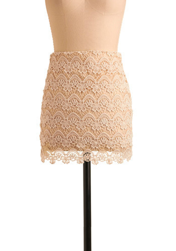 Social Hour Skirt - Cream, Floral, Crochet, Lace, Party, Casual, Mini, Spring, Summer, Short