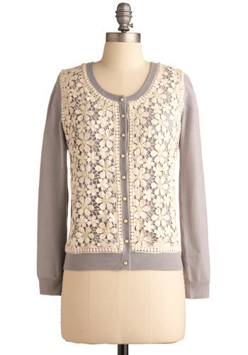 Blooms in the Sky Cardigan by Darling - Cream, Grey, Floral, Buttons, Lace, Pearls, Special Occasion, Casual, Long Sleeve, Short
