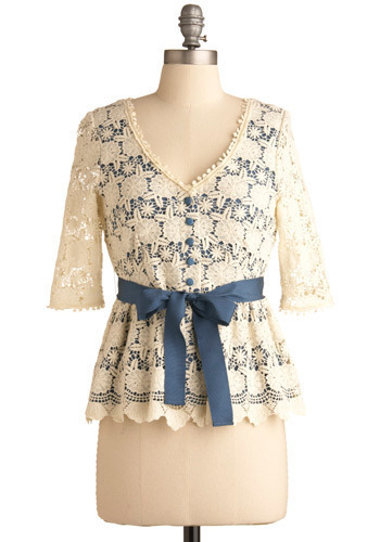 Parisian Patisserie Top by Darling - Blue, Cream, Floral, Bows, Buttons, Lace, Party, Work, Casual, Long Sleeve, Short Sleeves, Spring, Summer, Mid-length