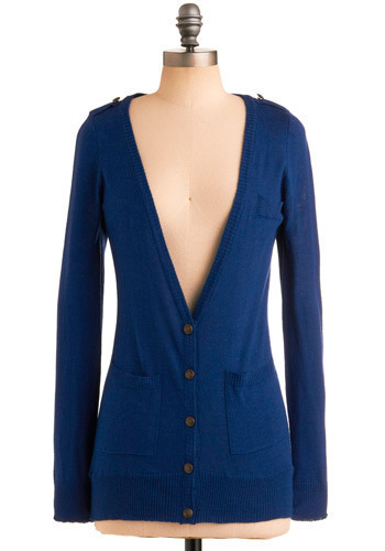 Mill Stream Cardigan by Tulle Clothing - Blue, Solid, Buttons, Epaulets, Pockets, Work, Casual, Nautical, Long Sleeve, Spring, Fall, Mid-length