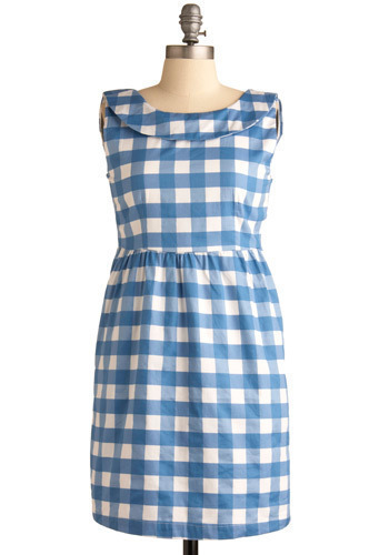 Jam Jamboree Dress by Tulle Clothing - Blue, White, Checkered / Gingham, Bows, Casual, Shift, Sleeveless, Spring, Summer, Short