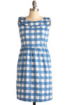 Jam Jamboree Dress by Tulle Clothing - Blue, White, Checkered / Gingham, Bows, Casual, Sheath / Shift, Sleeveless, Spring, Summer, Short