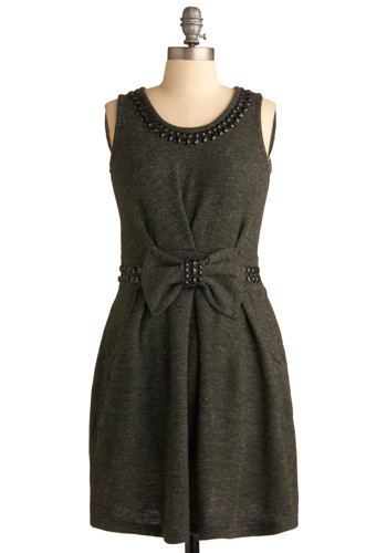 Internationally Stunning Dress - Grey, Solid, Bows, Pleats, Pockets, Rhinestones, Formal, Wedding, Party, Casual, Sleeveless, Mid-length