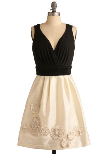 Spinning Pinwheels Dress by Max and Cleo - Pleats, Formal, Party, A-line, Tank top (2 thick straps), Black, White, Prom, Wedding, Mid-length