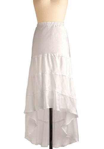 Trail of Clouds Skirt by BB Dakota - White, Solid, Casual, Urban, Maxi, Spring, Summer, Long