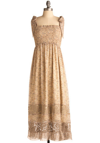 Boho et Belle Dress in Blooms - Tan, Multi, Blue, Brown, White, Floral, Bows, Lace, Casual, Boho, Empire, Maxi, Tank top (2 thick straps), Spring, Summer, Long