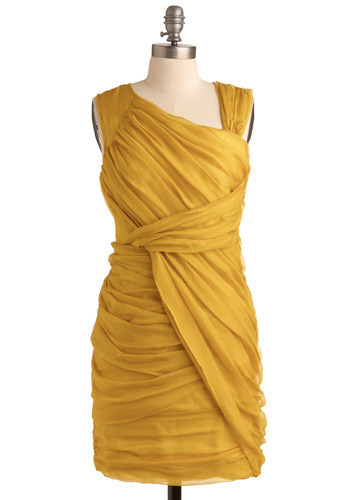 Main Squeeze Dress - Yellow, Solid, Formal, Prom, Wedding, Party, Luxe, Sheath / Shift, Sleeveless, Tank top (2 thick straps), Mid-length