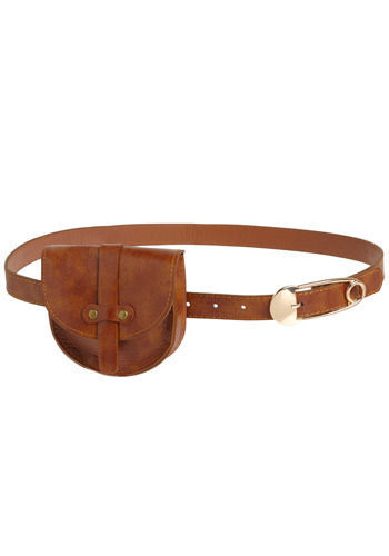 Portable Pocket Belt - Brown, Gold, Solid, Buckles, Pockets, Casual, Scholastic/Collegiate, Faux Leather, Rustic