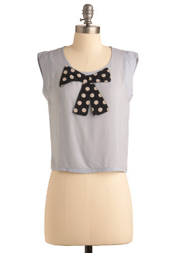 Forever Near Top - Blue, Tan / Cream, Polka Dots, Bows, Casual, Cap Sleeves, Short