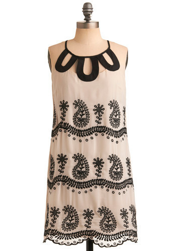 How Do Your Paisleys Grow Dress - Cream, Black, Floral, Cutout, Casual, Halter, Scallops, Mid-length