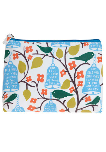 For Whom the Bird Tolls Pouch - Multi, Orange, Green, Blue, Brown, White, Floral, Print with Animals, Novelty Print, Casual