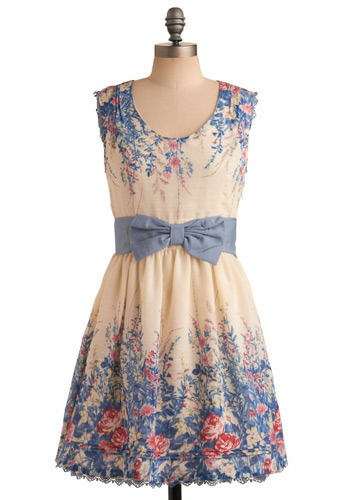 Secluded Garden Dress by Darling - Blue, Cream, Red, Green, Brown, Floral, Bows, Cutout, Wedding, Party, Casual, A-line, Sleeveless, Spring, Summer, Mid-length